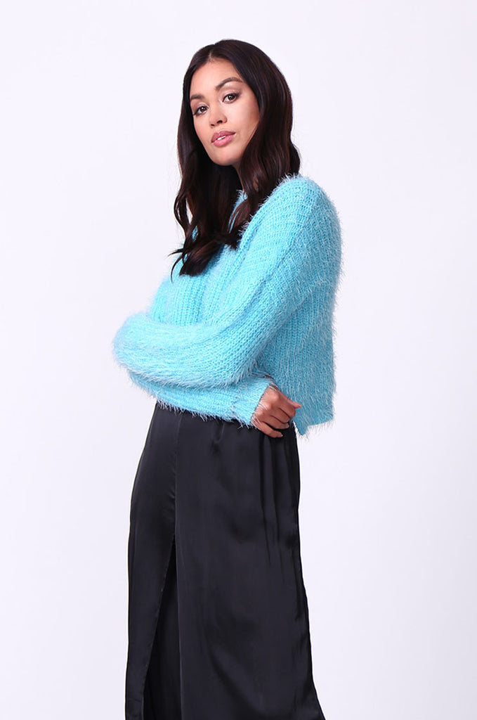SP0132-BLUE MOHAIR LONG SLEEVE CROP JUMPER view 2