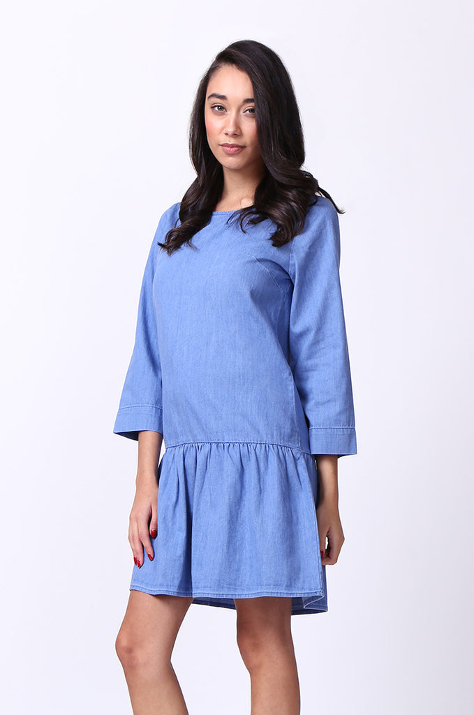 SF0030-BLUE DROP WAIST DENIM DRESS view 3