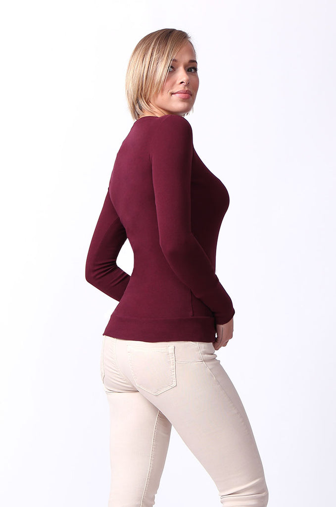 SF0063-MAROON BASIC SCOOP NECK LONG SLEEVE TEE view 2