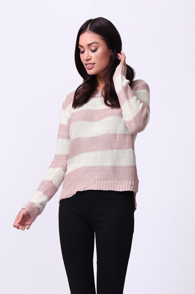 SF0058-CREAM BLOCK STRIPE CREW NECK JUMPER view 2