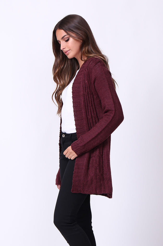 SF0067-WINE LONGLINE CABLE KNIT CARDIGAN view 2