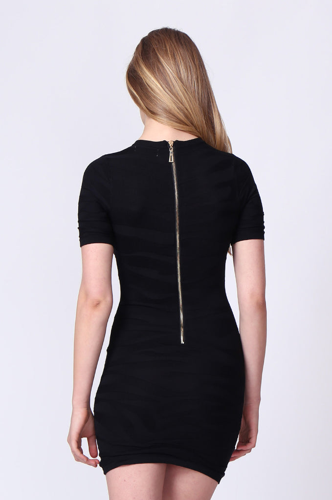 SJ0177-BLACK ZEBRA JACQUARD ZIP BACK KNIT MINI DRESS view 3