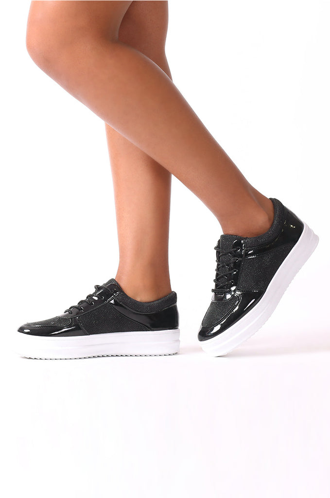 SMJ0038-BLACK METALLIC LACE UP TRAINER