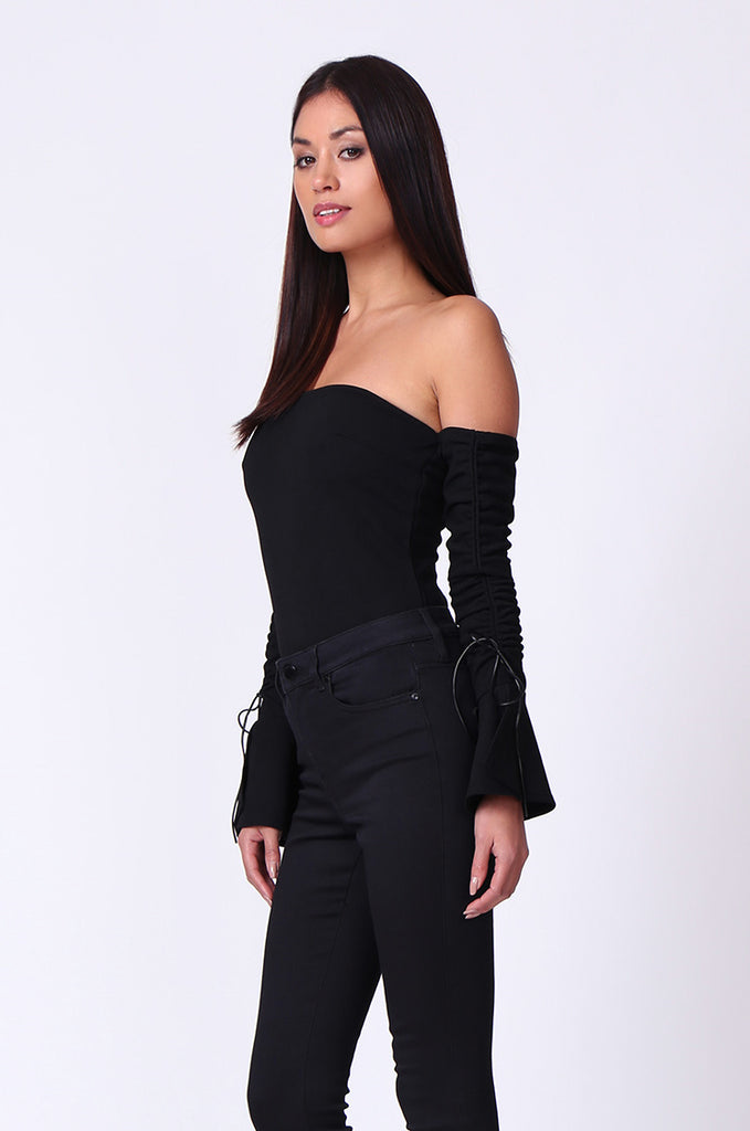 BANDEAU RUCHED SLEEVE BODYSUIT