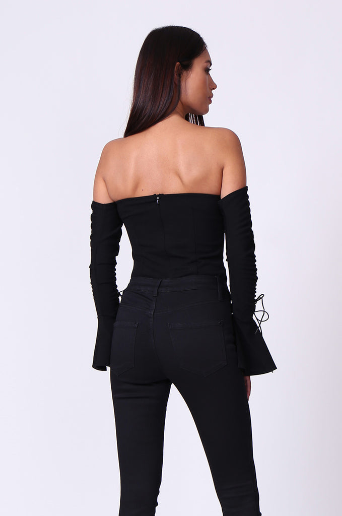 SPF0205-BLACK BANDEAU RUCHED SLEEVE BODYSUIT view 3