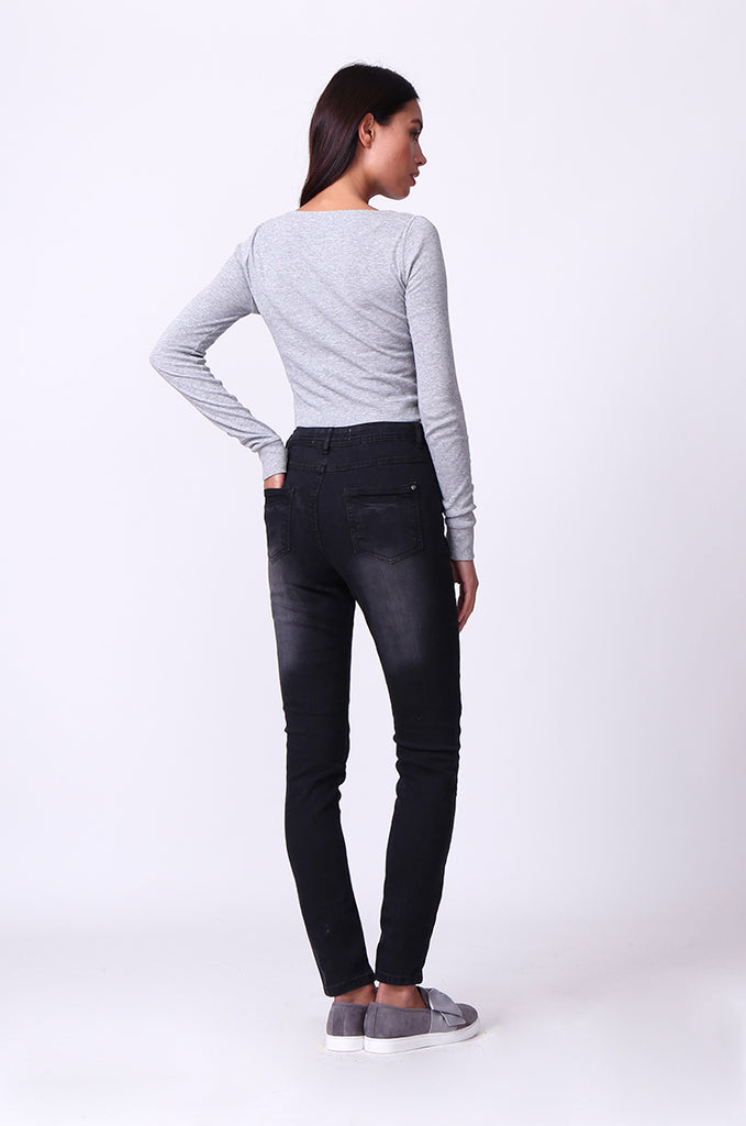 SF0099-BLACK WASHED SKINNY JEANS view 3