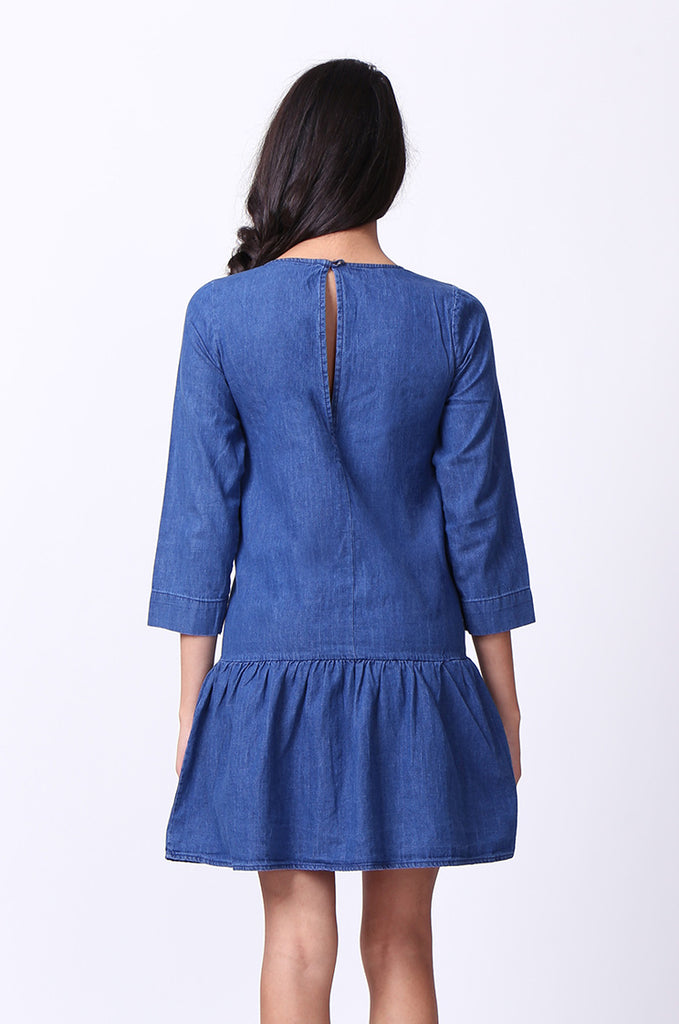 SF0030-DARK BLUE DROP WAIST DENIM DRESS view 4