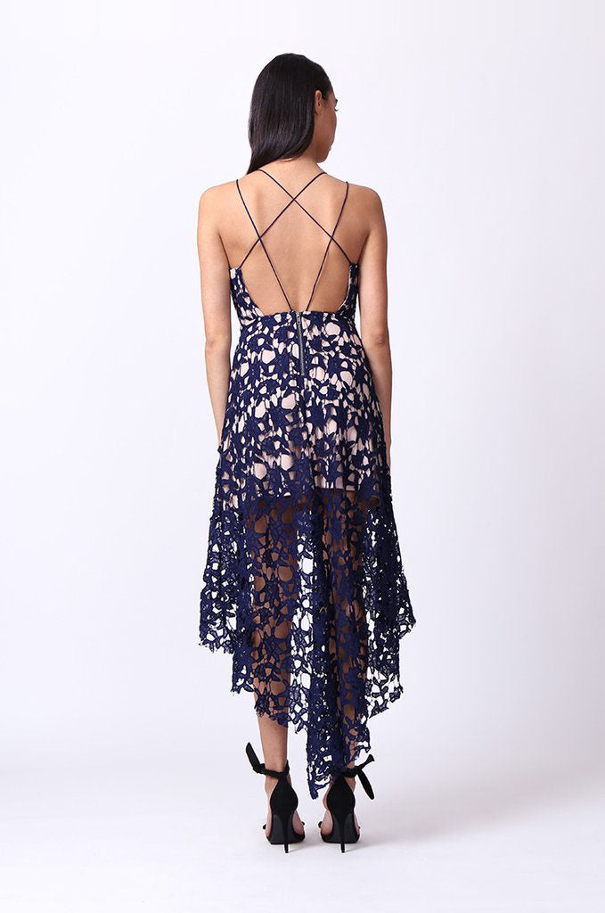 SIC0051-NAVY HI-LO STRAPPY LACE OVERLAY DRESS view 3