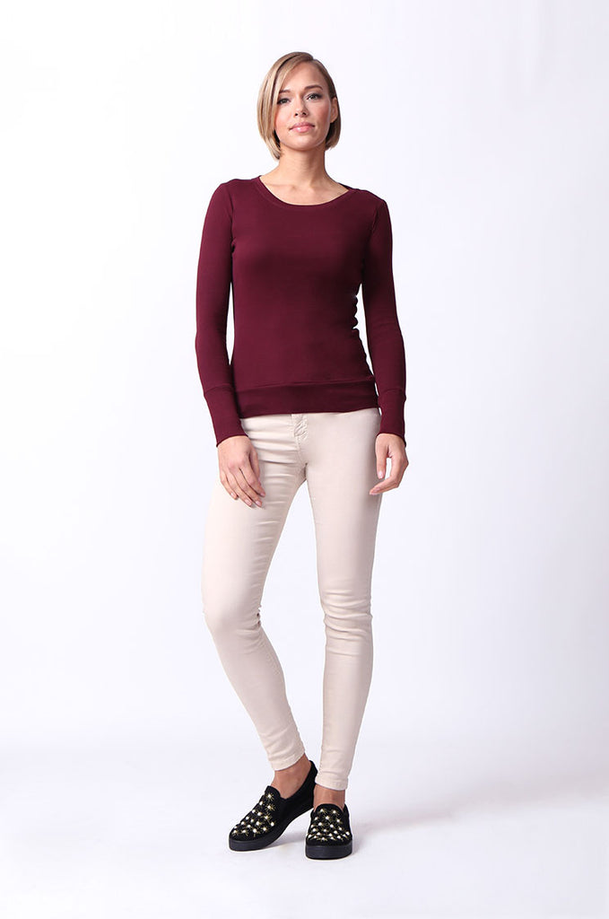 SF0063-MAROON BASIC SCOOP NECK LONG SLEEVE TEE view 3