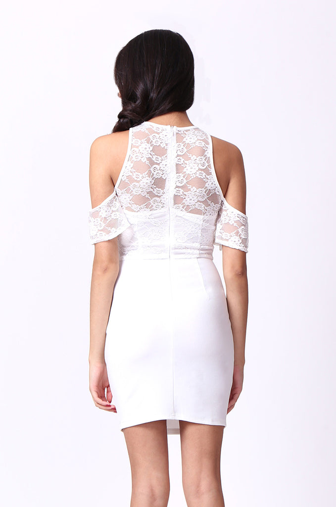SPF0015-CREAM COLD SHOULDER LACE MINI DRESS view 3