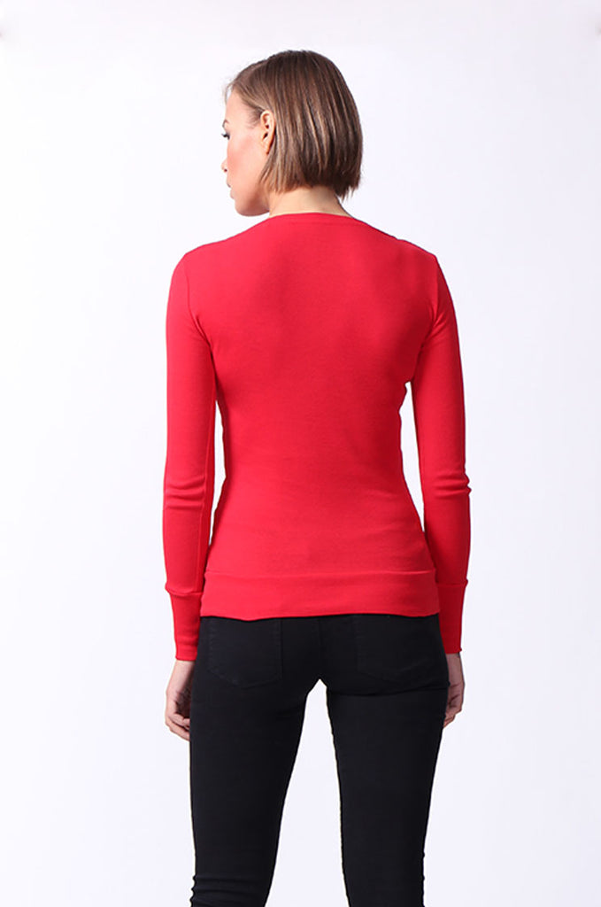 SF0063-RED BASIC SCOOP NECK LONG SLEEVE TEE view 3