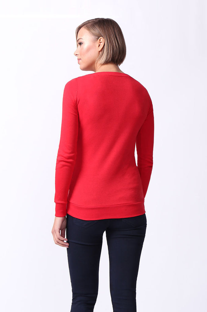 SF0064-RED BASIC V-NECK LONG SLEEVE TEE view 3