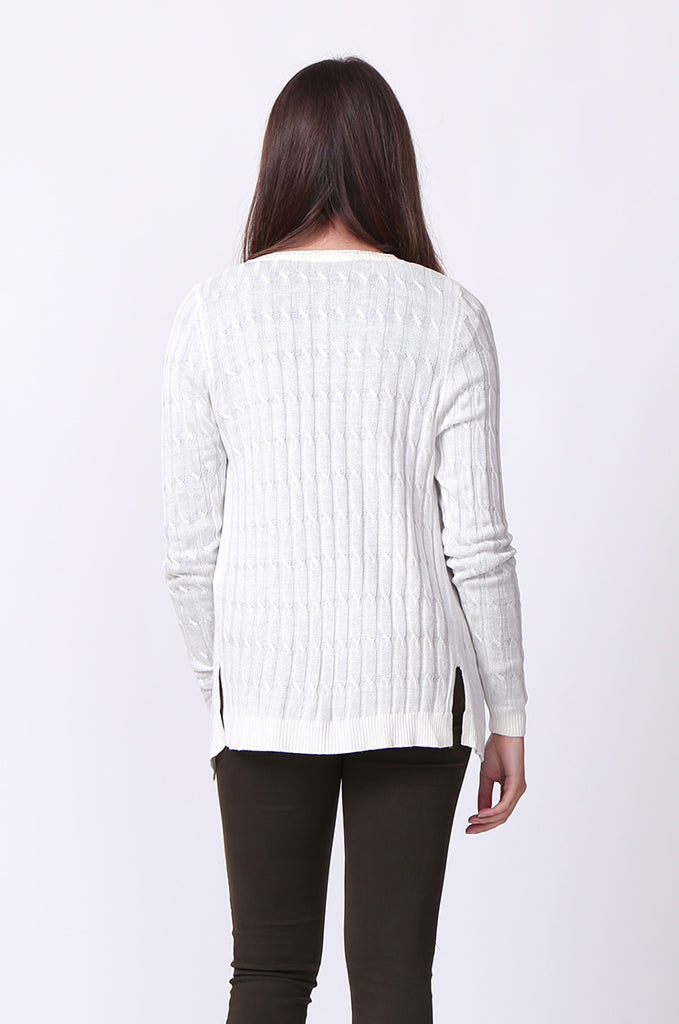 SF0061-WHITE LONG SLEEVE CABLE KNIT CARDIGAN view 3