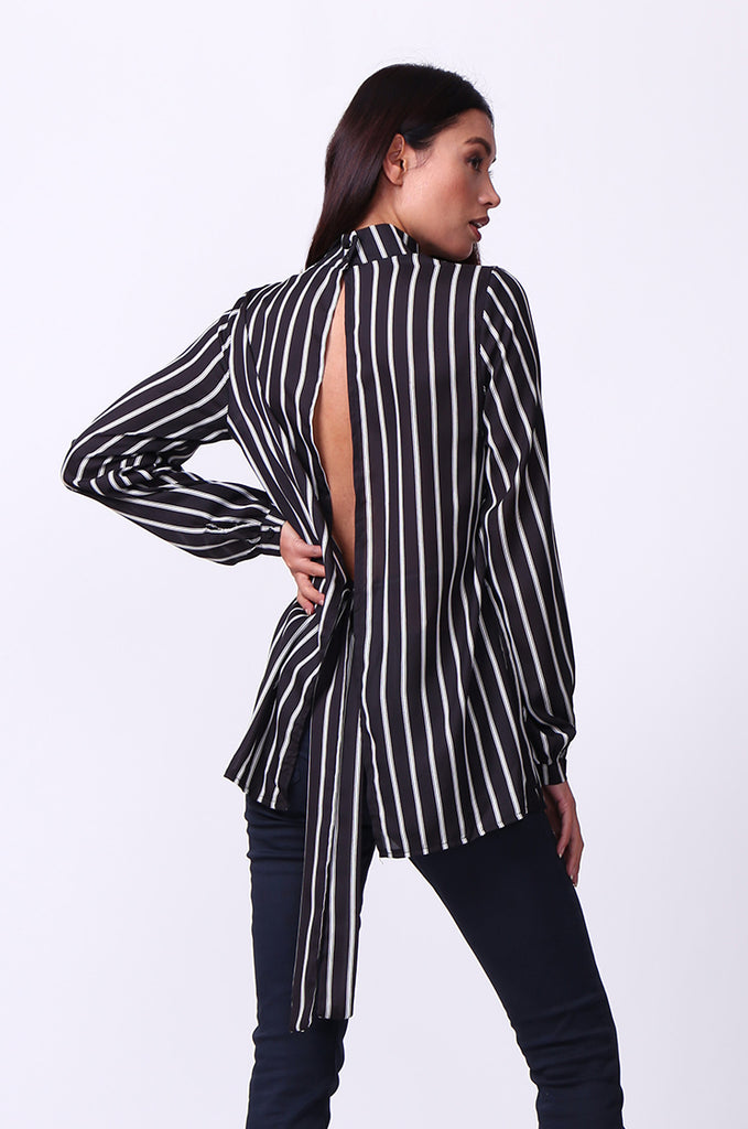 SD0005-MULTI STRIPED MOCK NECK OPEN BACK TOP view 3