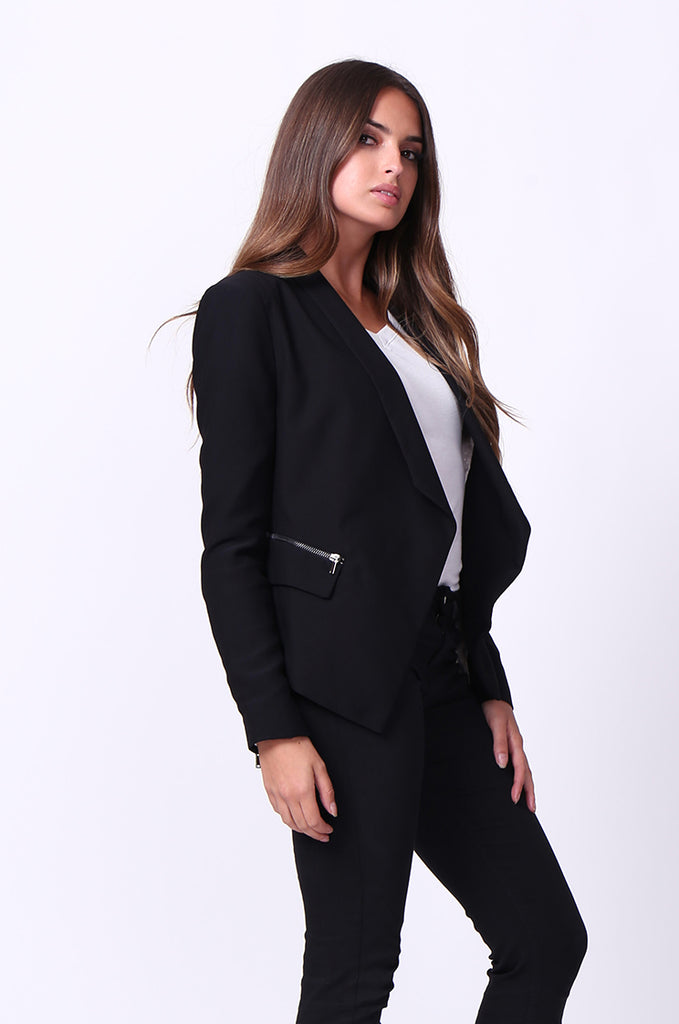 SC0001-BLACK ZIP POCKET BASIC BLAZER JACKET view 2