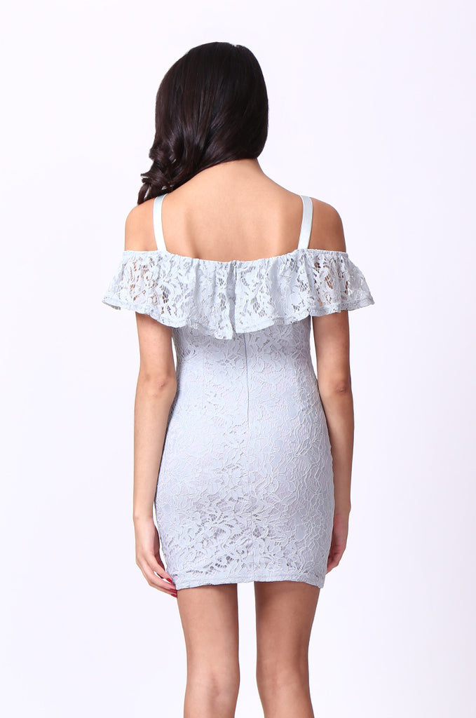 SPF0014-GREY LACE MINI DRESS view 3