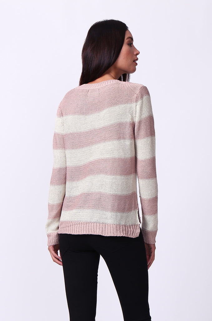 SF0058-CREAM BLOCK STRIPE CREW NECK JUMPER view 3