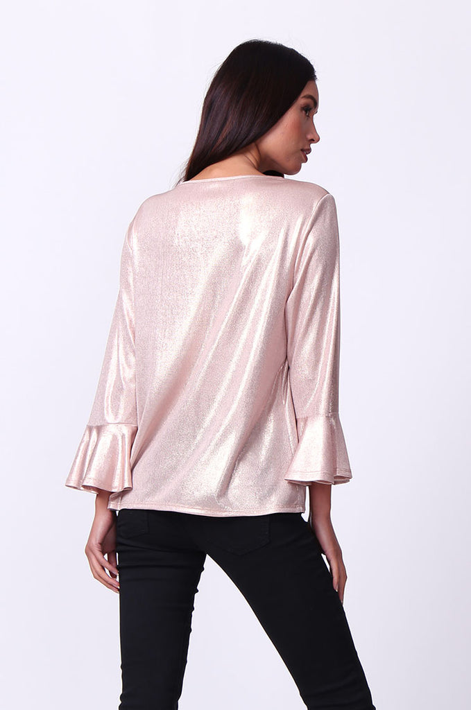 SC0004-PINK METALLIC FLUTED SLEEVE TOP view 3