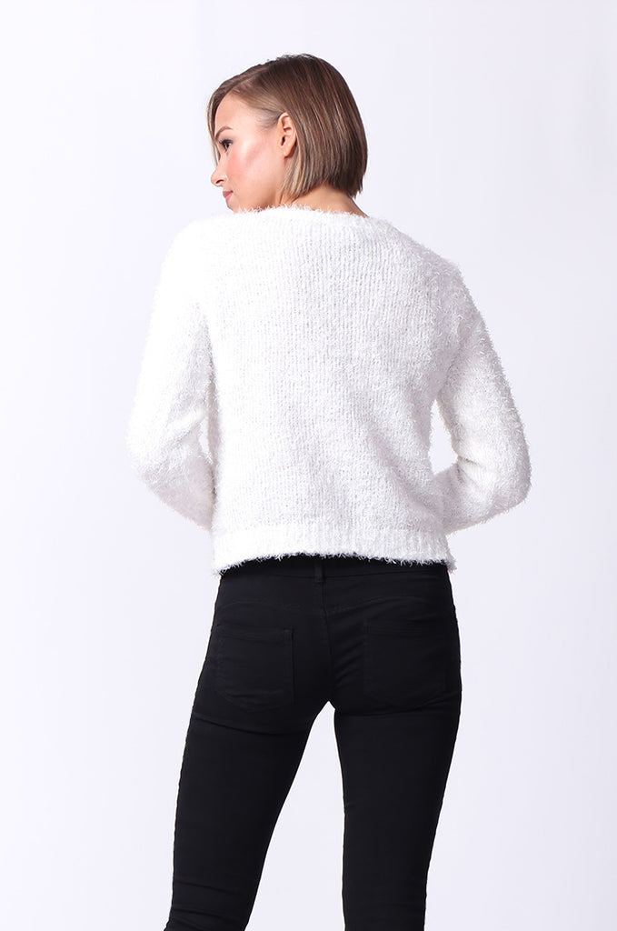 SF0060-CREAM FLUFFY LONG SLEEVE CREW NECK JUMPER view 3