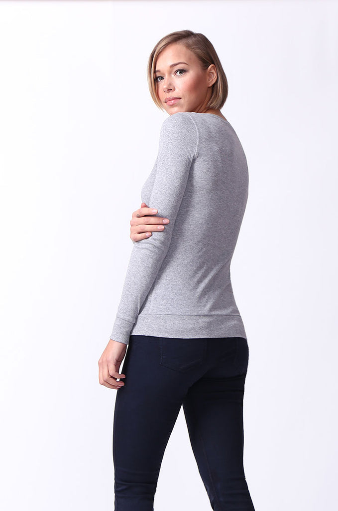SF0064-GREY BASIC V-NECK LONG SLEEVE TEE view 3