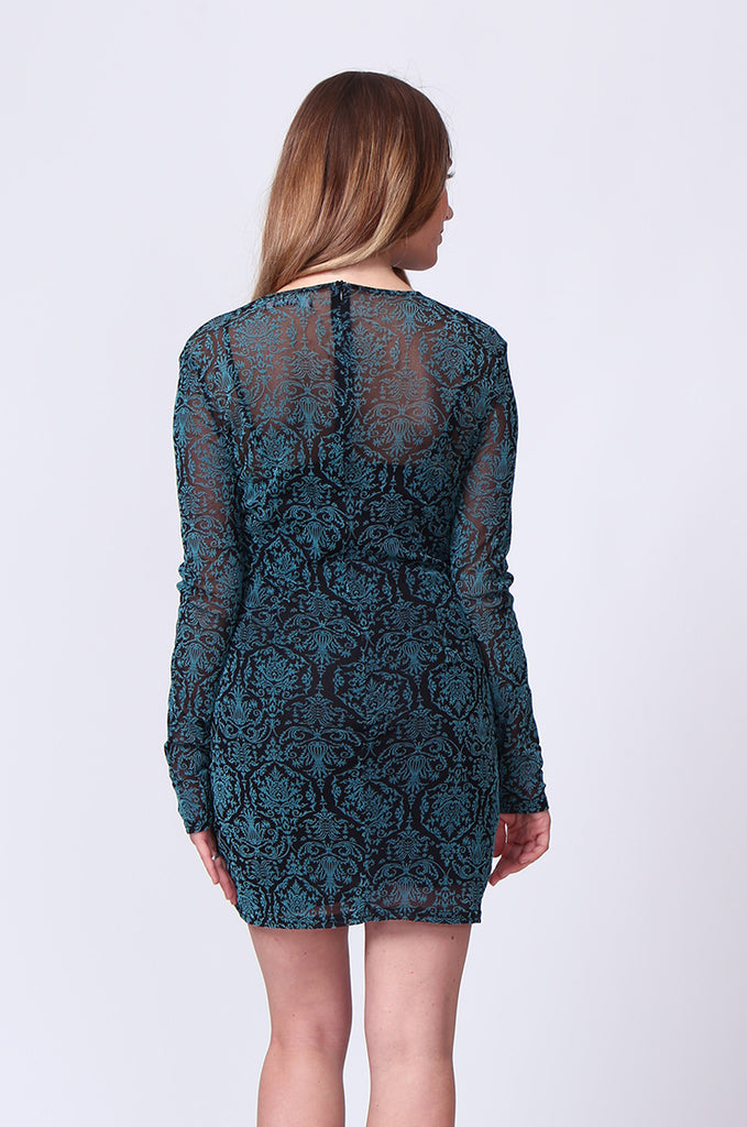 SD0197-TURQUOISE BROCADE VELVET BURN OUT MINI DRESS view 3