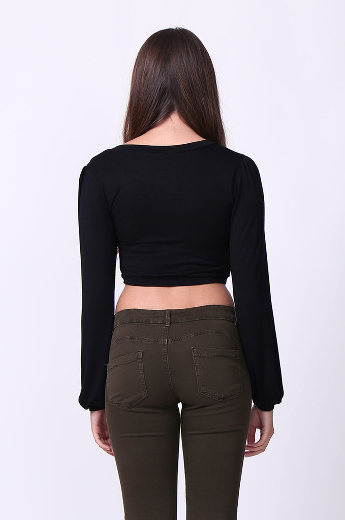 SP0109-BLACK V-NECK ROUCHED LONG SLEEVE CROP TOP view 3