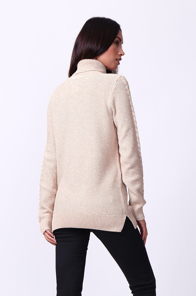 SF0100-BEIGE LONG SLEEVE CABLE KNIT TURTLENECK JUMPER view 3