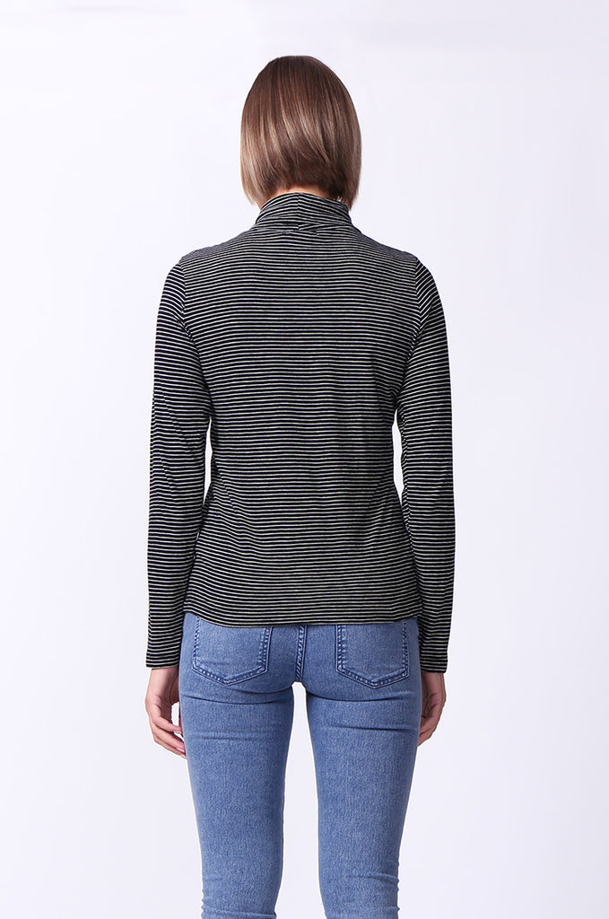 SF0024-BLACK STRIPED LONG SLEEVE BASIC TURTLENECK view 3