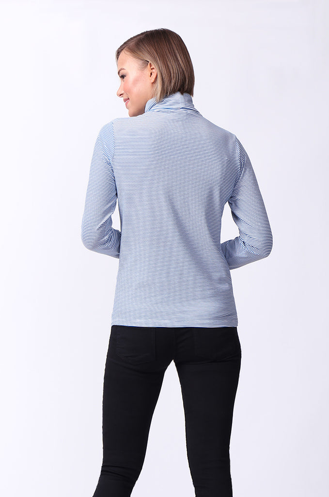 SF0024-BLUE STRIPED LONG SLEEVE BASIC TURTLENECK view 3