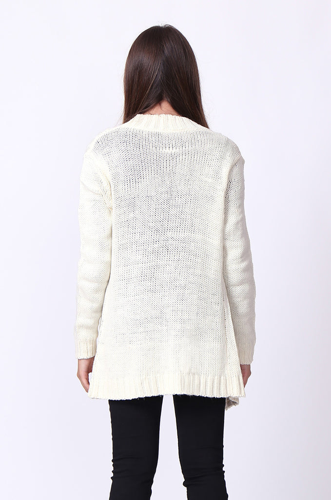 SF0067-CREAM LONGLINE CABLE KNIT CARDIGAN view 3