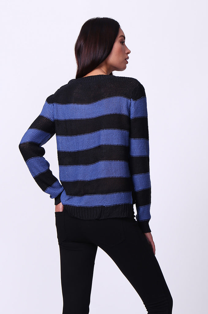 SF0058-BLACK BLOCK STRIPE CREW NECK JUMPER view 3