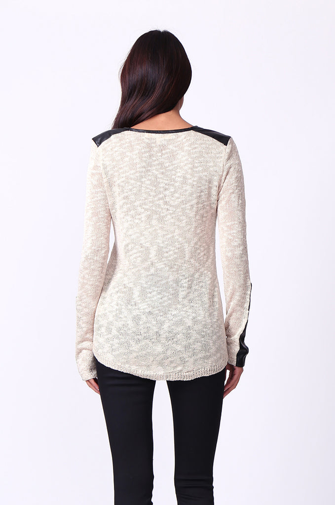 SP0134-CREAM LEATHERETTE TRIM LONG SLEEVE JUMPER view 3