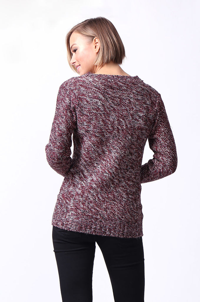 SF0072-ROSE TWEEDY LONG SLEEVE CABLE KNIT JUMPER view 3