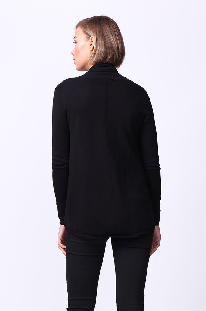 SF0097-BLACK LONG SLEEVE ROLL EDGE CARDIGAN TOP view 3