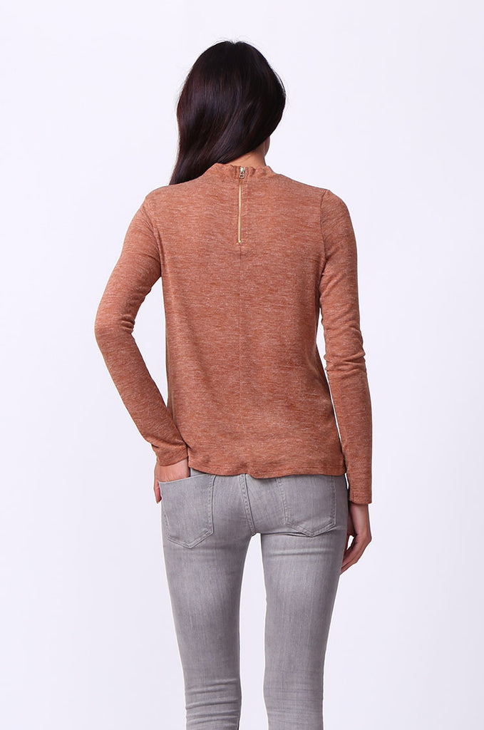 SA0053-TAN LONG SLEEVE ZIP MOCK NECK TOP view 3