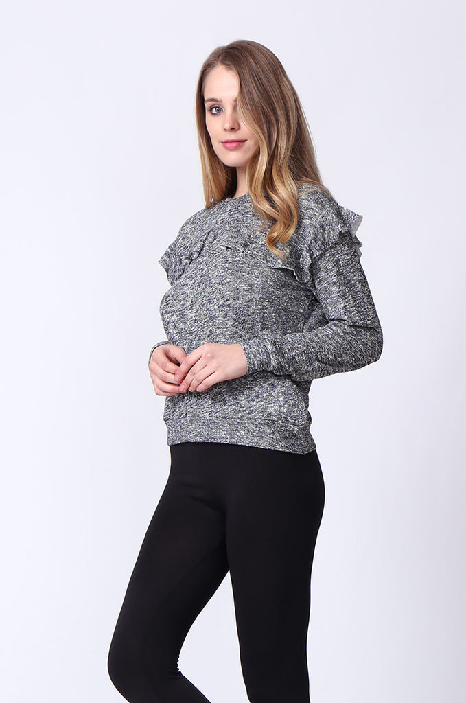 SJ0170-DARK GREY FRILLY SWEATSHIRT view 3