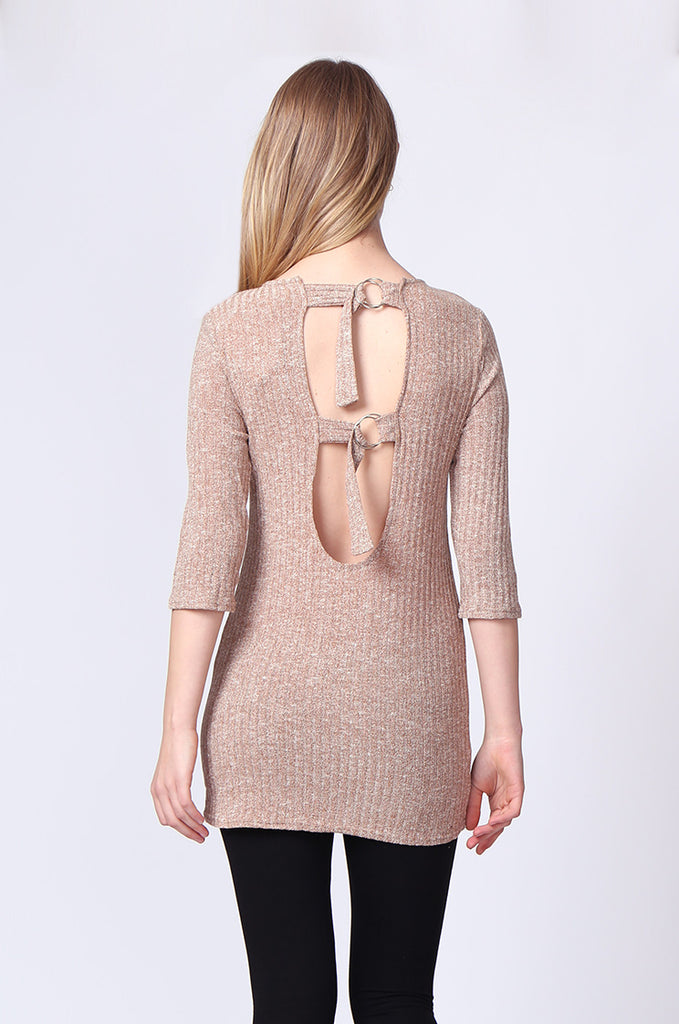 SJ0174-TAN BUCKLE BACK RIBBED TUNIC TOP view 3