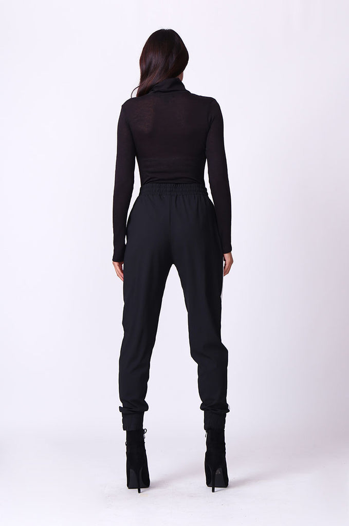 SP0135-BLACK SIDE STRIPE PANT view 3