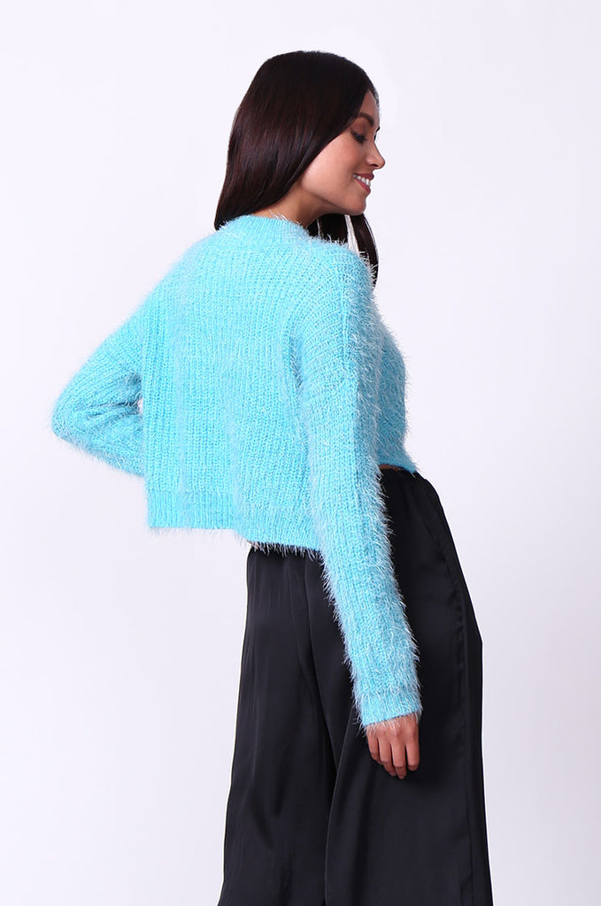 SP0132-BLUE MOHAIR LONG SLEEVE CROP JUMPER view 3