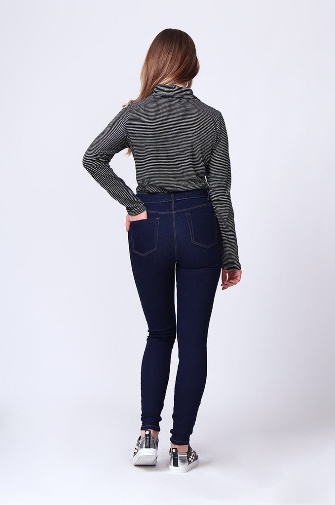 SF0160-BLUE BASIC HIGH WAIST SKINNY JEAN view 3
