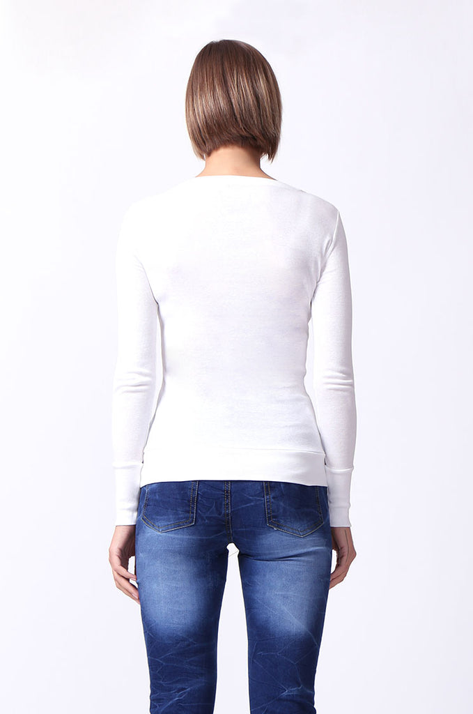 SF0063-WHITE BASIC SCOOP NECK LONG SLEEVE TEE view 3