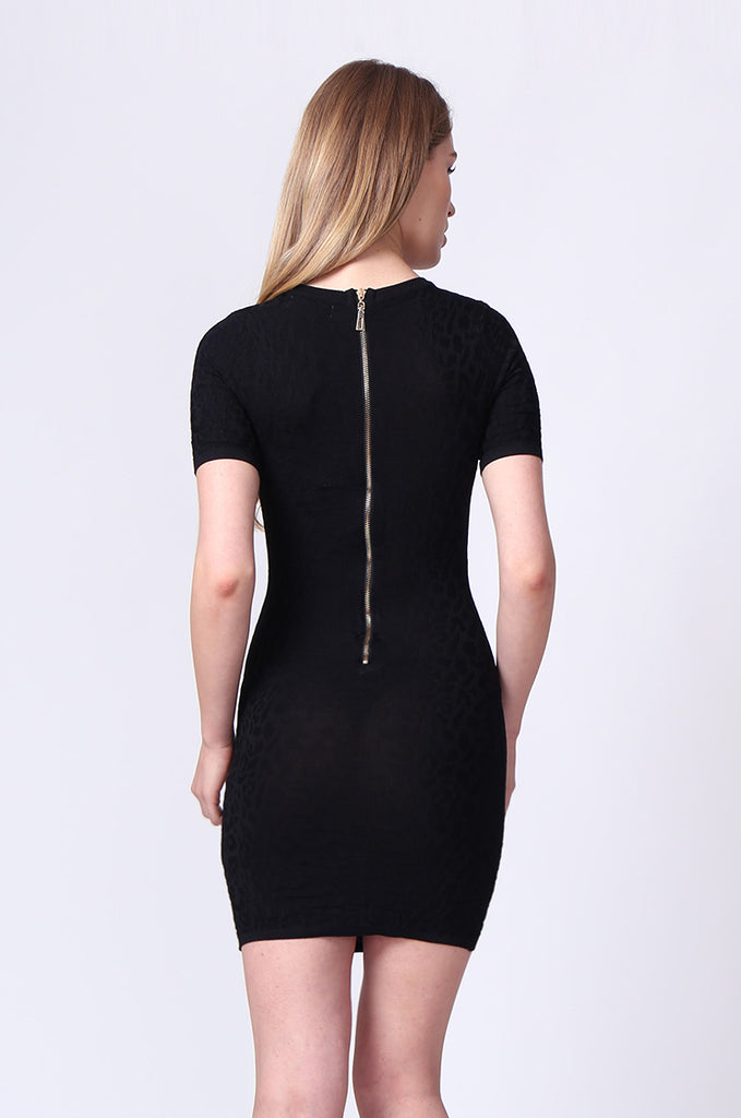 SJ0171-BLACK JACQUARD ZIP BACK KNIT MINI DRESS view 3