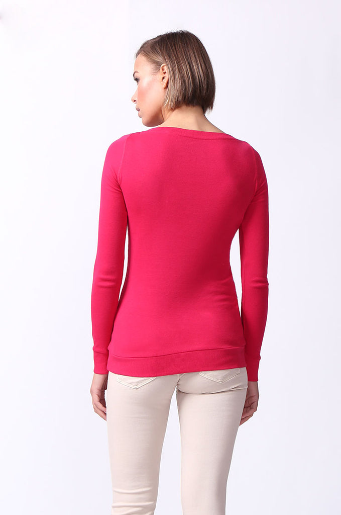 SF0064-PINK BASIC V-NECK LONG SLEEVE TEE view 3