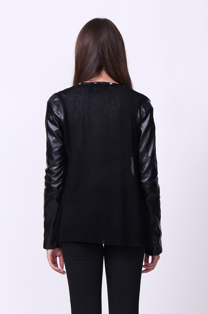 SP0110-BLACK STUDDED PU LONG SLEEVE POPPER CARDIGAN view 3