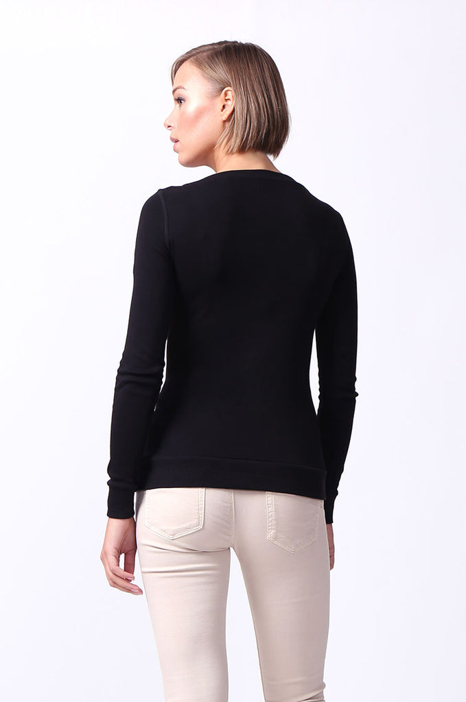 SF0064-BLACK BASIC V-NECK LONG SLEEVE TEE view 3