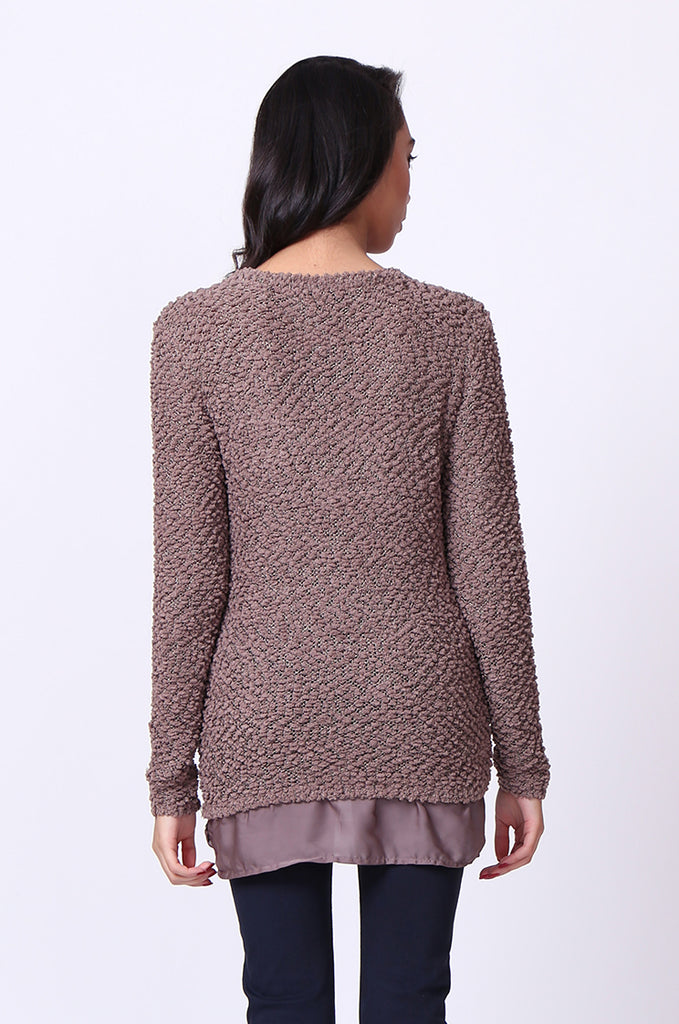 SF0022-BROWN BOUCLE CREWNECK LONG SLEEVE JUMPER view 3