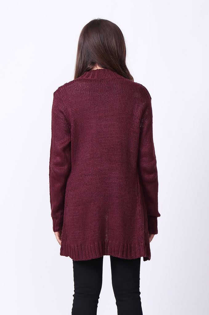 SF0067-WINE LONGLINE CABLE KNIT CARDIGAN view 3