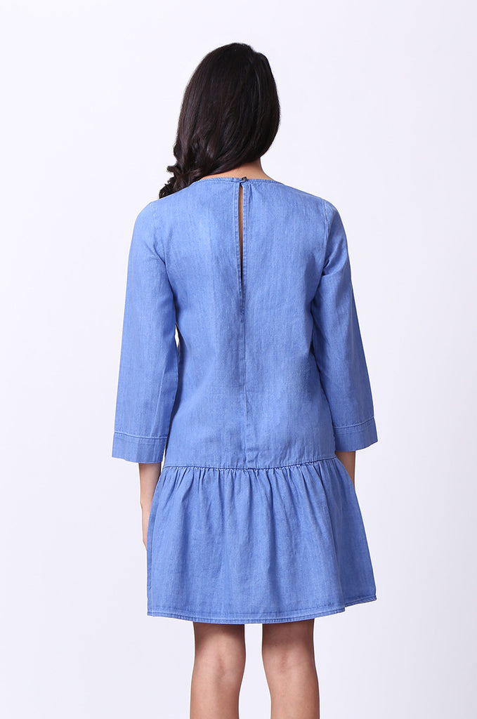 SF0030-BLUE DROP WAIST DENIM DRESS view 4