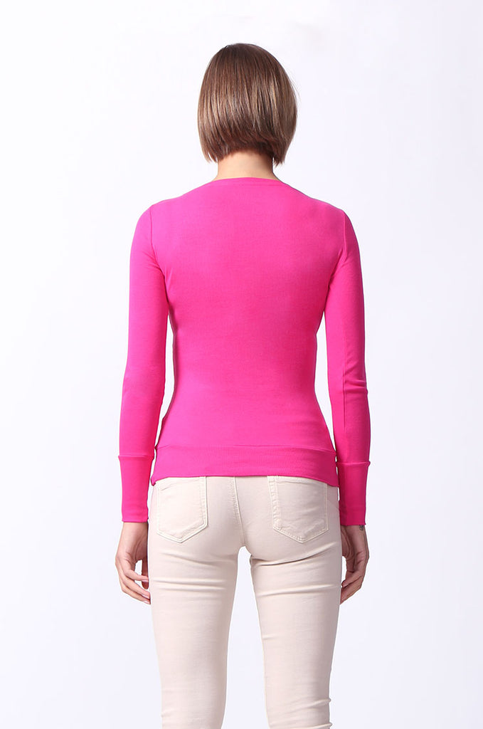 SF0063-PINK BASIC SCOOP NECK LONG SLEEVE TEE view 3