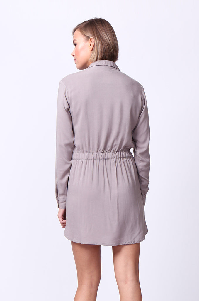 SF0093-GREY LONG SLEEVE BELTED SHIRT DRESS view 3